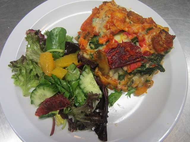 Vegetarian lasagna with crisp Spring salad