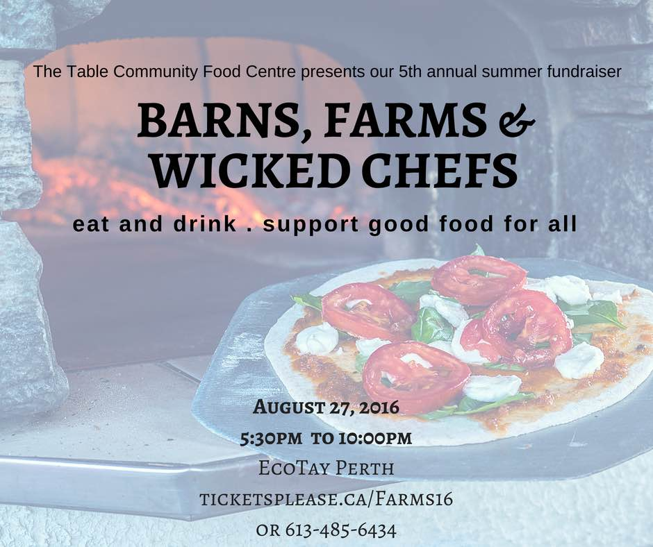 Farm to plate Fundraiser, in support of good food for all. Barns, Farms and Wicked Chefs August 27 2016