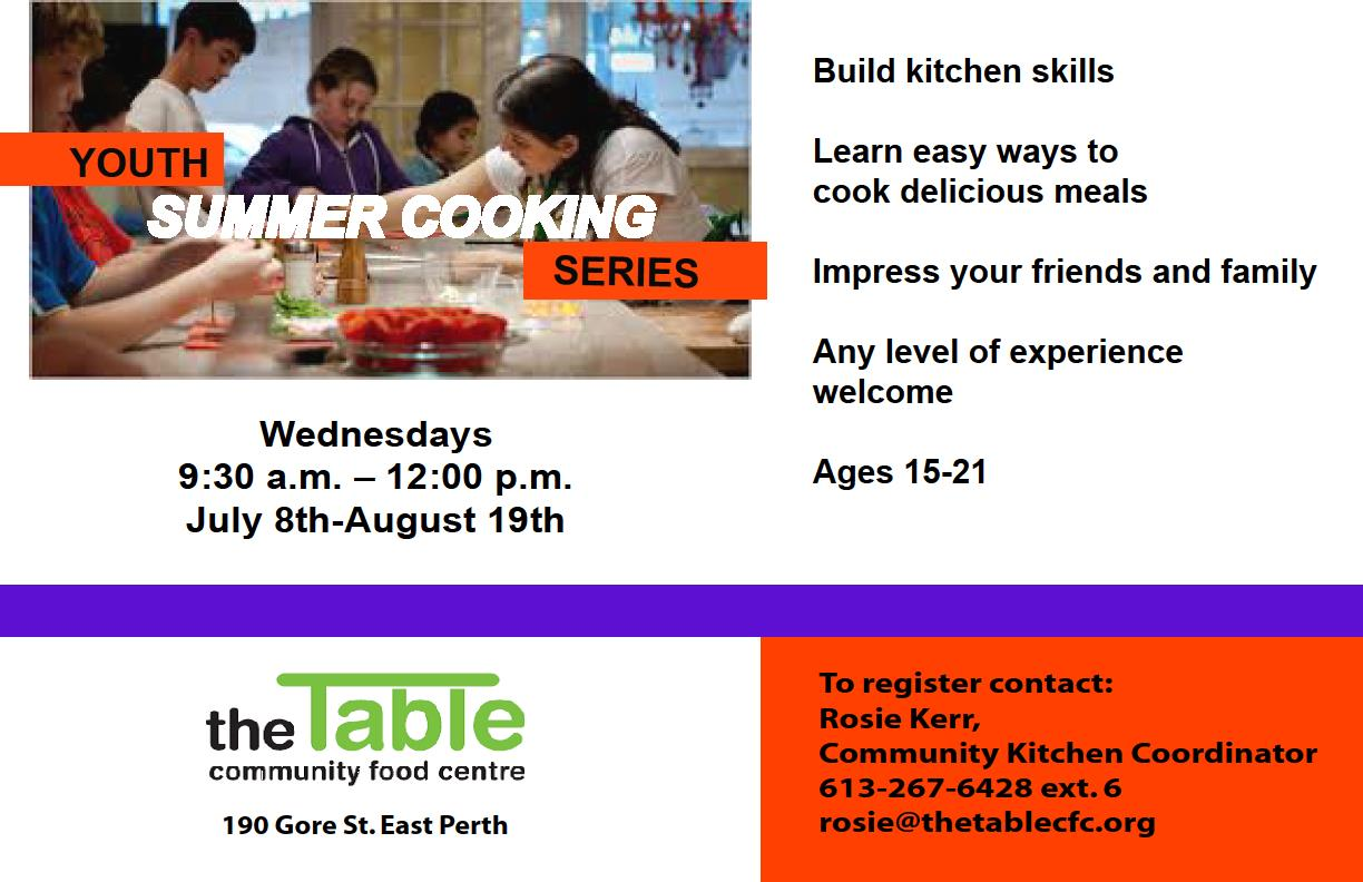 Summer Youth Cooking Series, starts July 8th.