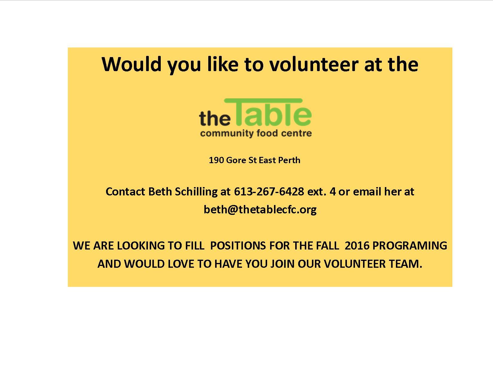 Volunteers needed for community food programs
